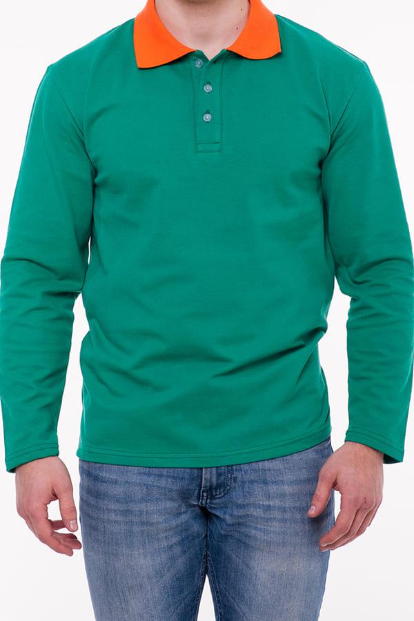 Рубашка поло мужская с длинным рукавом, цвет Белый