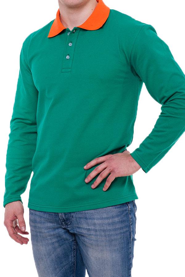 Рубашка поло мужская с длинным рукавом