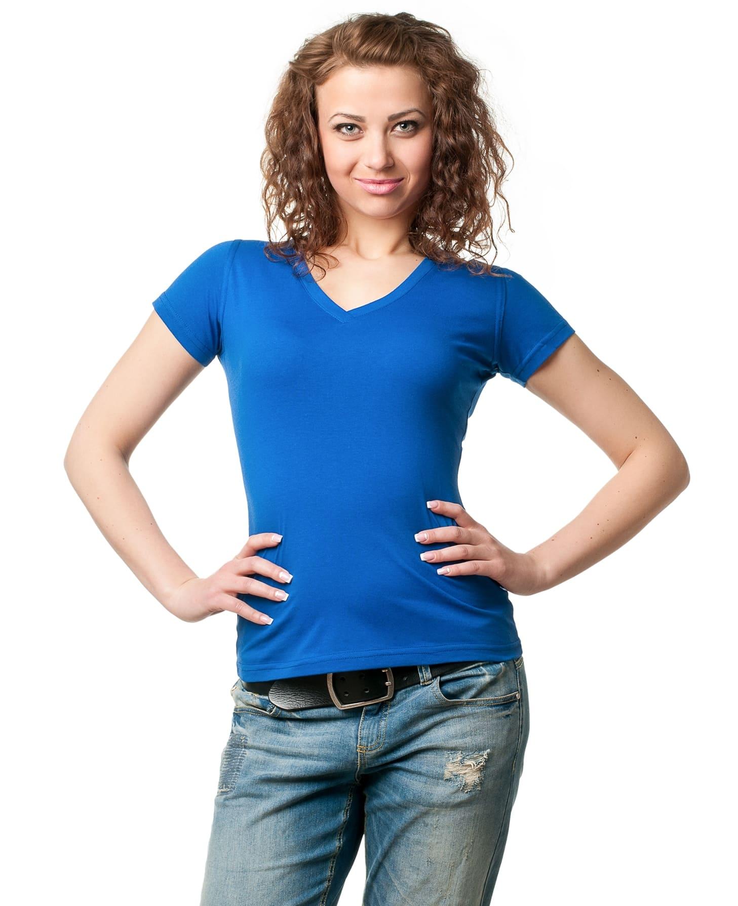 Женская футболка стандарт с V — образным вырезом